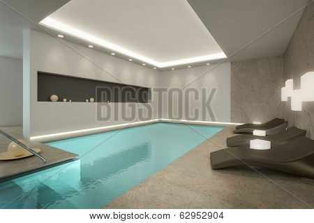 A 3D rendering image of an indoor pool SPA