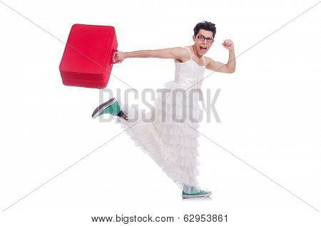 Funny man wearing in woman dress preparing on vacation  isolated on white