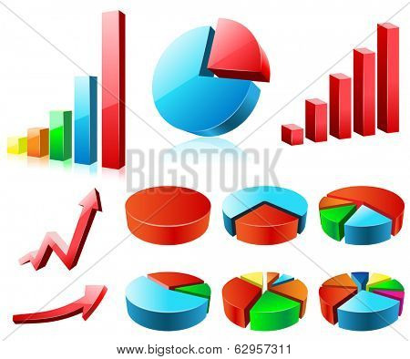 Charts and graphs illustration, isolated on a white background. Set.