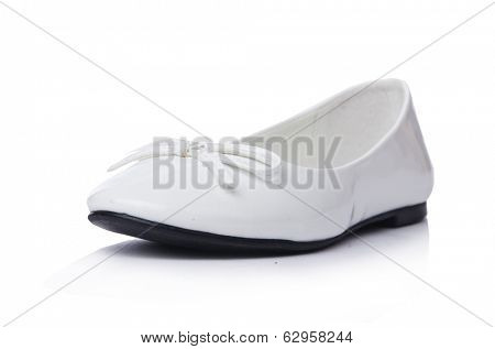 Golden ballet shoes isolated on white