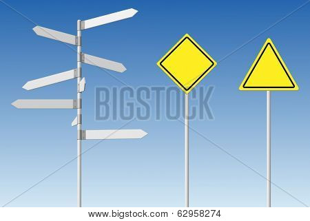 Choice and warning concept. Blank direction signpost and guard road posts on blue sky background. For eps file look id:31512853