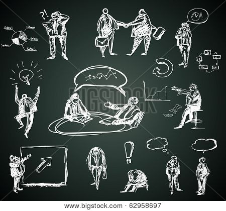 Doodle business people for infographics on blackboard