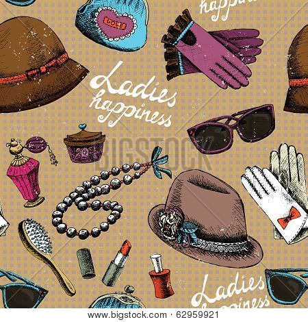 Women pattern with gloves glasses hat perfume and other accessory