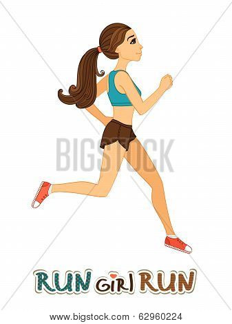 Running girl isolated
