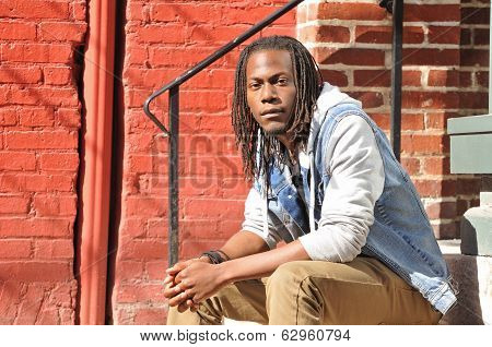 Casual Portrait Of A Young Black Man