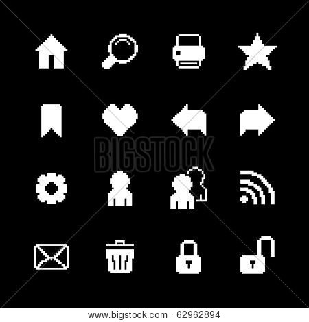 Contrast pixel icons set for interface design