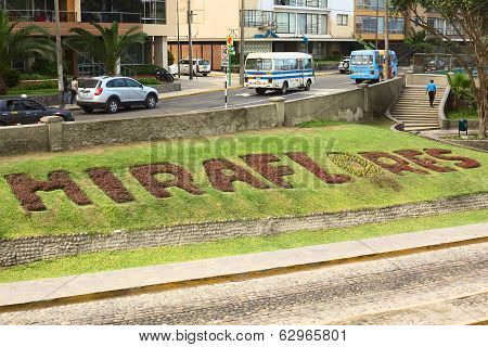 Miraflores Sign on Lawn in Lima, Peru