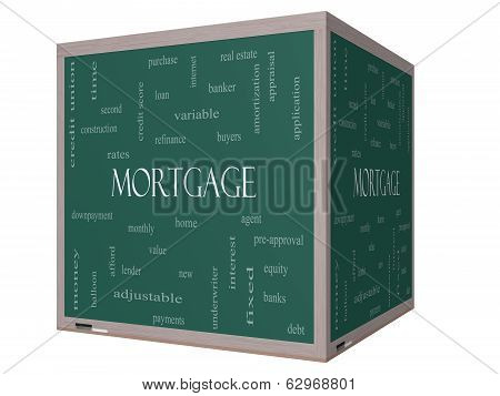 Mortgage Word Cloud Concept On A 3D Cube Blackboard