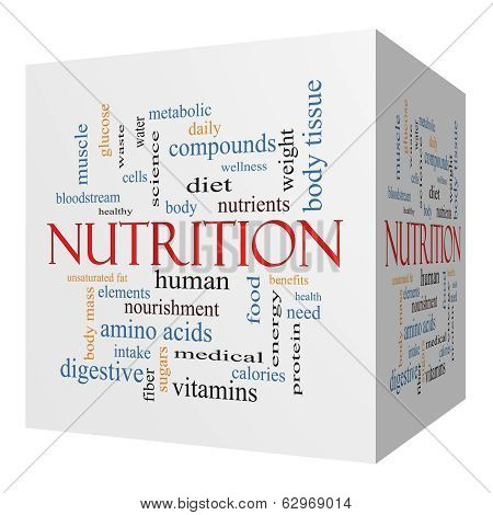 Nutrition 3D Cube Word Cloud Concept