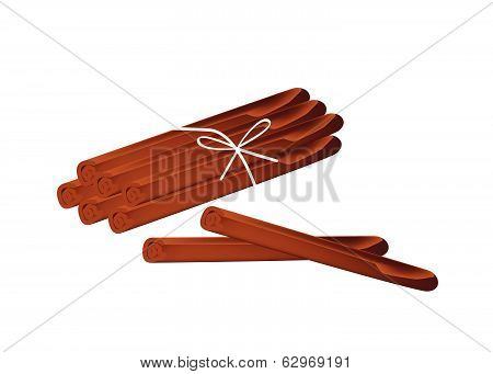 Stack Of Dried Cinnamon Sticks On White Background