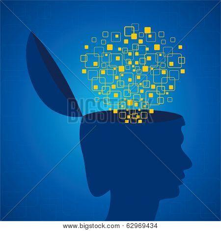Human head emitting squares