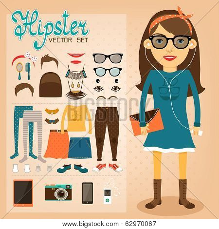 Hipster character pack for geek girl