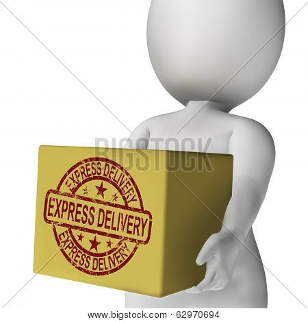 Express Delivery Box Means Sends And Delivers Quickly