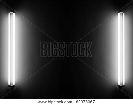 Fluorescent light tubes on the wall