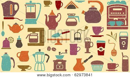 Background of tea and coffee