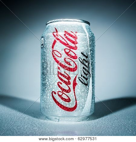 MOSCOW, RUSSIA-APRIL 4, 2014: Can of Coca-Cola Lignt. Coca-Cola is a carbonated soft drink sold in stores, restaurants, and vending machines throughout the world.