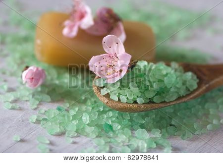 Salt Bath On A Wooden Spoon, Soap And Flowers