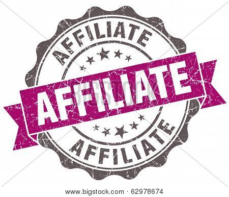 Affiliate Violet Grunge Retro Style Isolated Seal