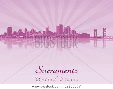 Sacramento Skyline In Purple Radiant Orchid