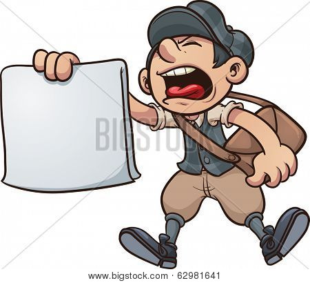 Cartoon paper boy yelling. Vector clip art illustration with simple gradients. All in a single layer.