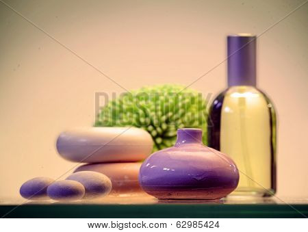 Still life with soap, essential oil and stones, Aroma therapy