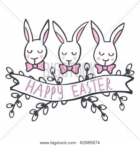 White rabbits in row Happy Easter card on white
