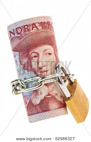 swedish krona, the currency of sweden. with lock. secure investment.