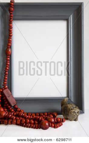 Grey Frame With Red Beads And Stone Handmade Cat