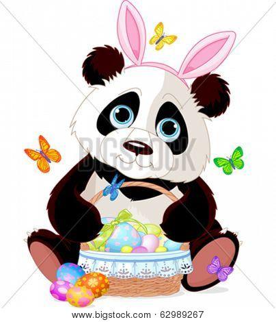Cute Easter Panda holding basket full of eggs