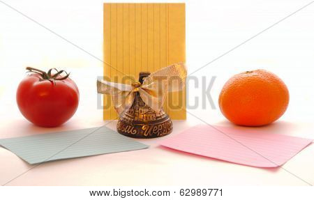 Bell Notes With Different Vegetables And Fruits, Many Objects