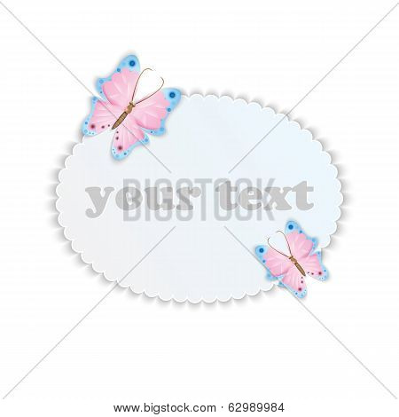 Frame For Your Text Decorated With Colorful Butterflies