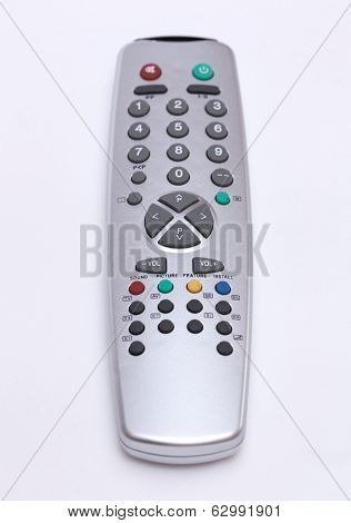 Gray TV remote, isoalted on white