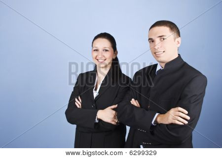 Portrait Of Two Business Young People