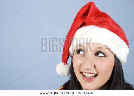 Head Of Santa Girl Looking Sideways