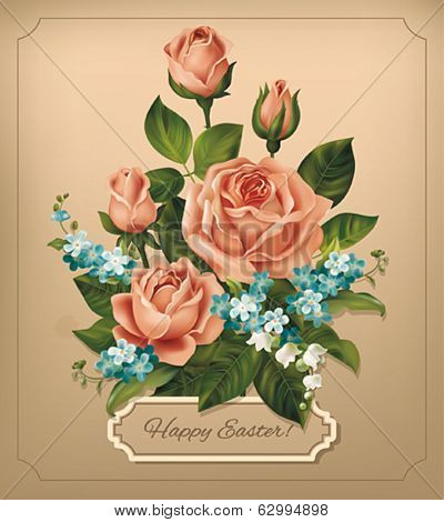 Easter vintage card with roses. Vector eps 10.