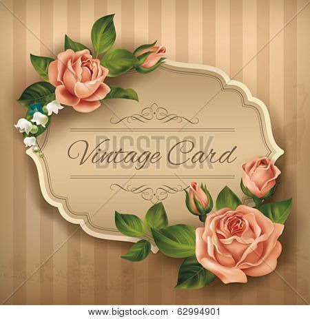 Vintage card with roses. Vector eps 10.