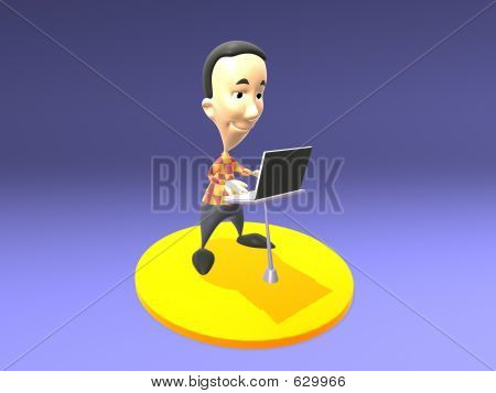 Toon Guy With A Laptop