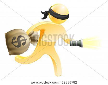 Burglar With Money And Flashlight