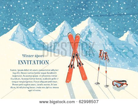 Ski winter mountain landscape card