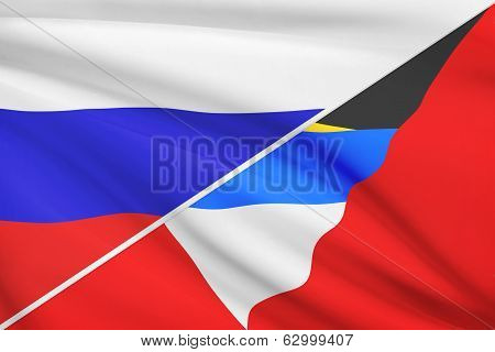 Series Of Ruffled Flags. Russia And Antigua And Barbuda.