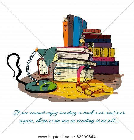 Books reading still life