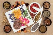 stock photo of wicca  - Herbal naturopathic medicine selection also used in pagan witches magical potions over old paper background - JPG
