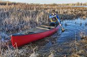 stock photo of wetland  - senior male paddling a red canoe through a wetland in early spring - JPG