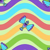 Seamless pattern of fantastic bluebird on rainbow wavy background. Vector illustration