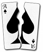 picture of ace spades  - The ace of spades playing card toen in half and isolated on a white background - JPG