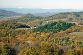 stock photo of banska  - Colorful autumn landscape across rural hilly countryside - JPG