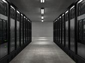 stock photo of mainframe  - Very high resolution rendering of a servers room - JPG