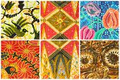 picture of batik  - Set of batik sarong pattern background traditional batik sarong in Asian - JPG
