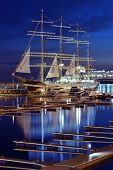 SOCHI, RUSSIA - FEBRUARY 14, 2014: Four masted barque Krusenstern anchored in the port of Sochi. Hal
