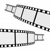 stock photo of strip  - Set of two blank cinema film strip frames with different shape curve and empty space for your movie photograph and picture - JPG